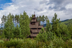 Old wooden stave church in Norway. Old wooden stave church - stavkirke in Norway. Historical landmarks of Scandinavia Stock Photos
