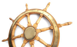 Old wooden steering wheel Stock Image