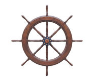 Old wooden steering wheel  white background. Royalty Free Stock Images