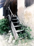Old wooden steps to barn stock photos