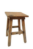 Old wooden stool isolated on white Stock Photos