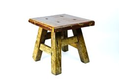 Old wooden stool. Isolated on white background Royalty Free Stock Images