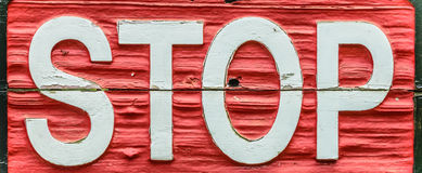 Old wooden stop sign Royalty Free Stock Images