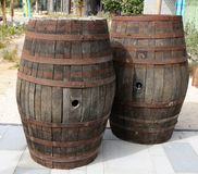 Old Wooden Barrels. royalty free stock photos