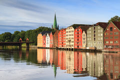 Old wooden storehouses at Trondheim Royalty Free Stock Photo