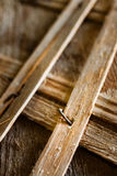 Old wooden structures with rusty nails. Royalty Free Stock Photo