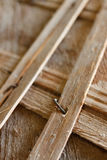 Old wooden structures with rusty nails. Stock Photo