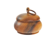 Old wooden sugar bowl  isolated Royalty Free Stock Photography
