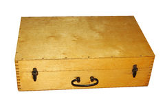 Old wooden suitcase Stock Images