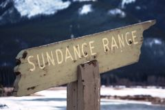 An old Wooden sundance mountain range sign Royalty Free Stock Photography