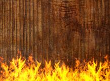Old wooden surface on fire Royalty Free Stock Images
