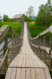 Old wooden suspension bridge Royalty Free Stock Images