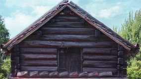 Old wooden Sweden, Swedish wooden house in nature. Historical house. For ancient stock video