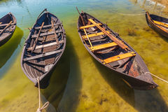 Old wooden Swedish fishing boats. On the island of Oland Royalty Free Stock Images
