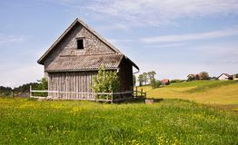 Old wooden Switzerland outhouse Royalty Free Stock Photo