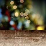 Old wooden table with festive background Stock Image