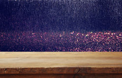 Free Old Wooden Table In Front Of Glitter Lights Background Royalty Free Stock Photography - 82267277