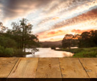 Old Wooden Table Or Walkway By Lake Royalty Free Stock Image