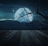 Old wooden table over bird, dead tree, moon and spooky cloudy sk Royalty Free Stock Photography