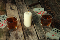 Old wooden table to play cards Stock Photography