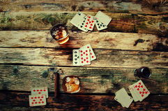 Old wooden table to play cards from above Stock Image