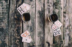 Old wooden table to play cards from above Royalty Free Stock Photo