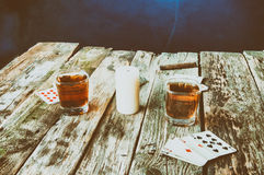 Old wooden table to play cards from above Royalty Free Stock Image