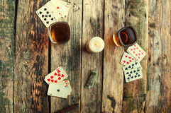 Old wooden table to play cards from above Royalty Free Stock Photography