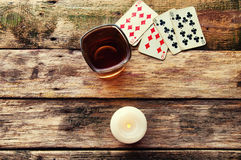 Old wooden table to play cards from above Stock Photo