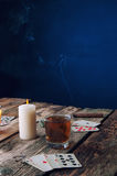Old wooden table to play cards from above Royalty Free Stock Photos