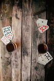 Old wooden table to play cards from above Stock Photos