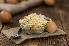 Free Old Wooden Table With Fresh Powdered Eggs Close-up Shot; Selective Focus Stock Photo - 167936900
