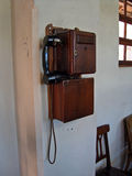 Old wooden telephone Stock Photo