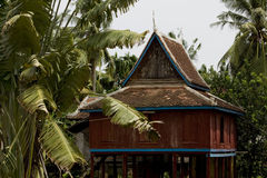 Old wooden temple in cambodia Royalty Free Stock Photo