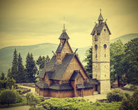 Old wooden temple vintage style. Royalty Free Stock Image