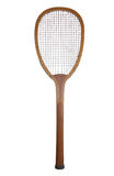 Old wooden tennis racket. Isolated on a white background Royalty Free Stock Image