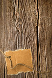 Old wooden texture and cardboard blank Royalty Free Stock Photos