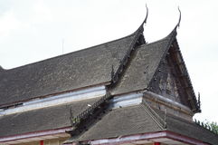 Old wooden thai temple roof Stock Images