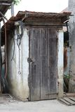 Old wooden toilet in village Stock Photo