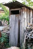 Old wooden toilet in village Royalty Free Stock Images