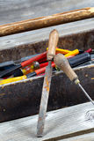 Old Wooden Toolbox with Tools Stock Photo