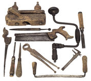 Old Wooden Tools. Set of Old Carpenter Wooden Tools royalty free stock photos