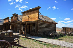Old wooden town. Ghost town left in open plains to rot Stock Photo