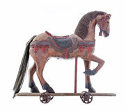 Old wooden toy horse. For kids to ride or play with Stock Photo
