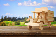 old wooden toy truck car over wooden table Stock Photography
