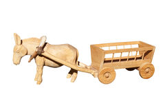 Old wooden toys - a donkey and cart Stock Photos