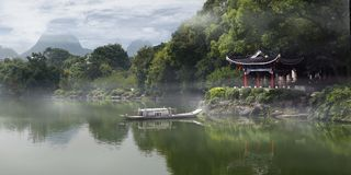 Old traditional chinese pavillon. Old Wooden traditional chinese pavillon with misty weather Guilin,China stock photo