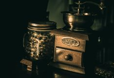 Old wooden traditional coffee grinder stock photo