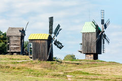Old wooden traditional ukrainian windmills Stock Photography