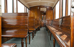 Old wooden train interior Royalty Free Stock Image